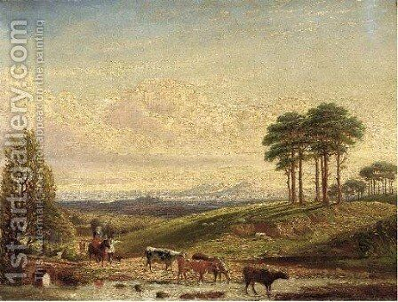 A drover with cattle near Hagley by Edward Arthur Walton - Reproduction Oil Painting