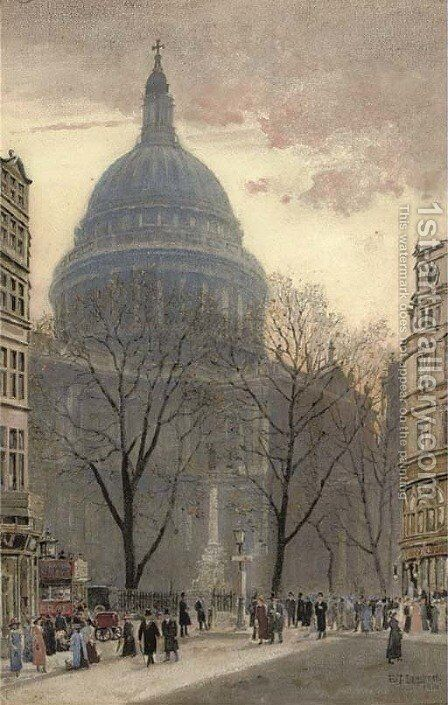 Elegant figures before St. Paul's Cathedral by Edwin J. Lambert - Reproduction Oil Painting