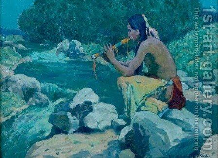 Flute Player, Rio Lucero, Taos, NM by Eanger Irving Couse - Reproduction Oil Painting