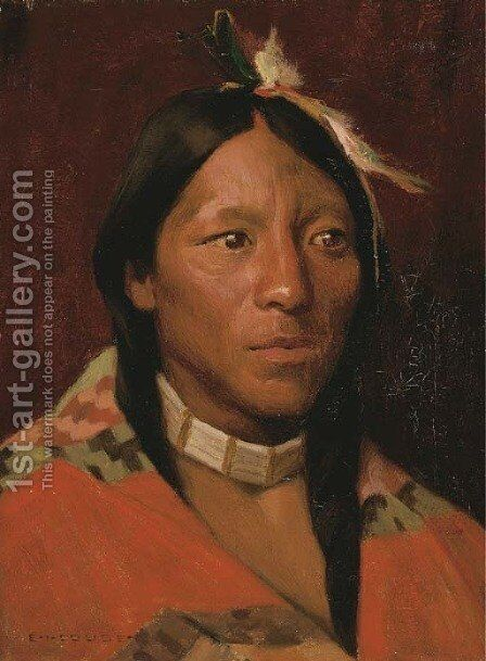 John Concha, Taos Pueblo by Eanger Irving Couse - Reproduction Oil Painting