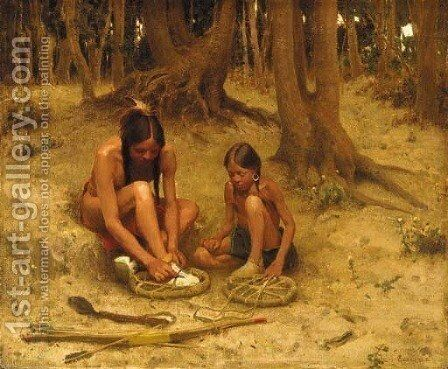 Putting on the War Shoes by Eanger Irving Couse - Reproduction Oil Painting
