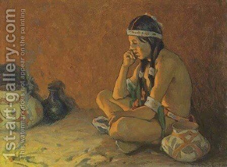 The Thinker by Eanger Irving Couse - Reproduction Oil Painting