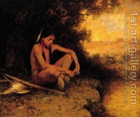Young Hunter by a Stream by Eanger Irving Couse - Reproduction Oil Painting