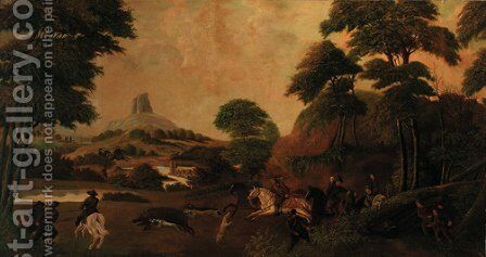 An extensive landscape with a boar hunt by East European School - Reproduction Oil Painting