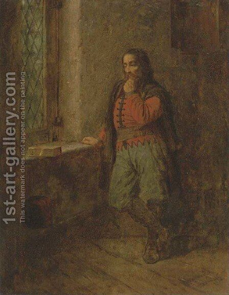 A Pensive Moment by Eastman Johnson - Reproduction Oil Painting