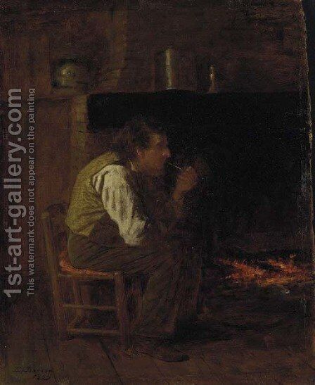 Maine Interior--Man with Pipe by Eastman Johnson - Reproduction Oil Painting