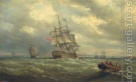 A three-decker reducing sail in Spithead in preparation for her arrival into Portsmouth Harbour by Ebenezer Colls - Reproduction Oil Painting