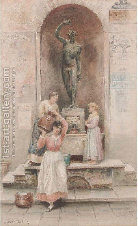 At the water fountain by Ebenezer Wake Cook - Reproduction Oil Painting