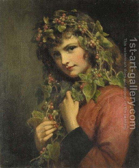Portrait of a girl adorned with berries by Eden Upton Eddis - Reproduction Oil Painting