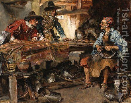 The armourer by Edgar Bundy - Reproduction Oil Painting