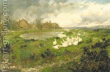 The duck pond by Edgar Bundy - Reproduction Oil Painting
