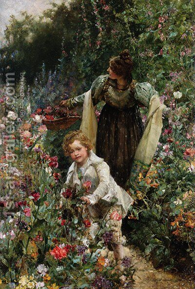 Gathering Flowers by Edgar Bundy - Reproduction Oil Painting