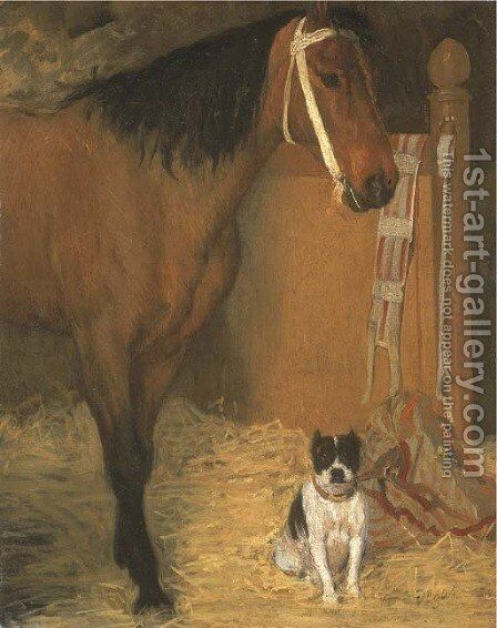 A l'ecurie, cheval et chien by Edgar Degas - Reproduction Oil Painting