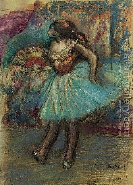 Danseuse a l'eventail by Edgar Degas - Reproduction Oil Painting