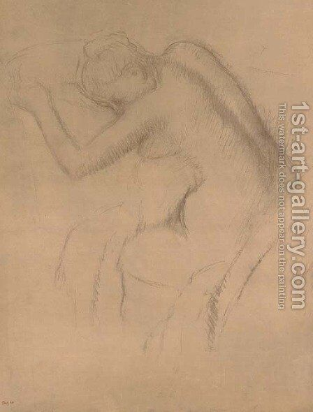Femme nue assise by Edgar Degas - Reproduction Oil Painting