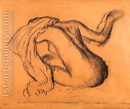 Femme nue assise, s'essuyant by Edgar Degas - Reproduction Oil Painting