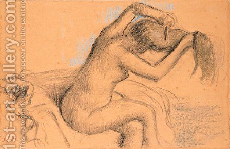 Femme nue se coiffant by Edgar Degas - Reproduction Oil Painting