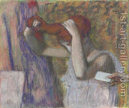 Femme se coiffant, la lettre by Edgar Degas - Reproduction Oil Painting