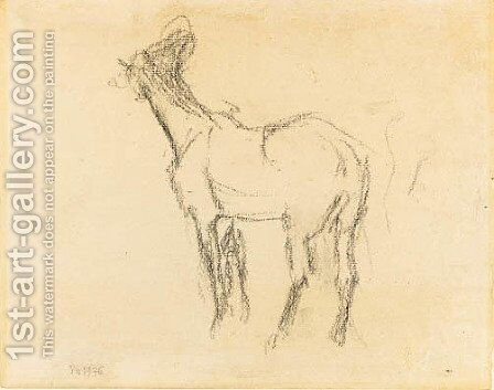 the first Study of a Horse raising his Head towards the Left by Edgar Degas - Reproduction Oil Painting