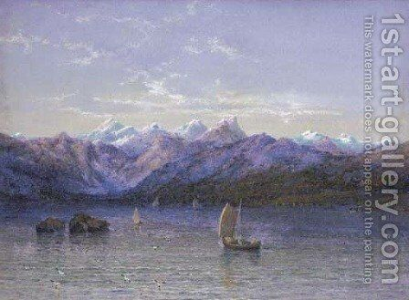 Midnight sun across the lake, Norway by Edgar E. West - Reproduction Oil Painting