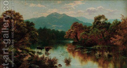 Cattle watering in a mountainous landscape by Edgar Longstaffe - Reproduction Oil Painting