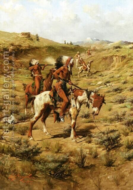 The War Party by Edgar Samuel Paxson - Reproduction Oil Painting