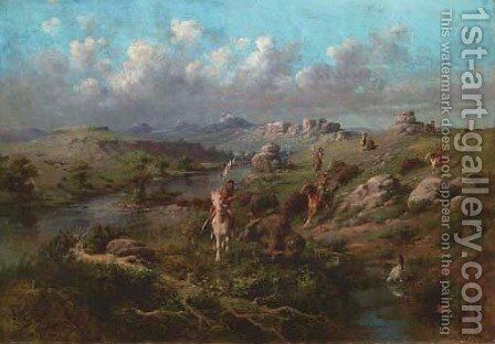 Indian Pursuit by Edgar Samuel Paxson - Reproduction Oil Painting