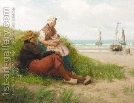 The Dutch fisherman's family awaiting the return of the fleet by Edith Hume - Reproduction Oil Painting