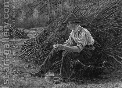 A Woodcutter sitting on a Log eating Lunch by Edith Martineau - Reproduction Oil Painting