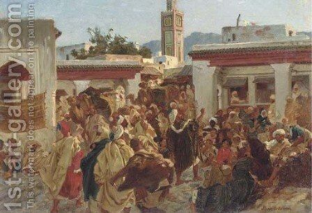 Moroccan Street Scene by Alfred Dehodencq - Reproduction Oil Painting