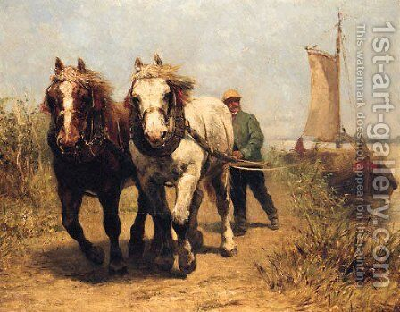 Horses On A Towpath Pulling A Barge by Edmond Joseph De Pratere - Reproduction Oil Painting