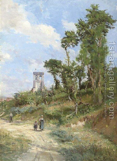 Paysage en ete by Edmond Marie Petitjean - Reproduction Oil Painting