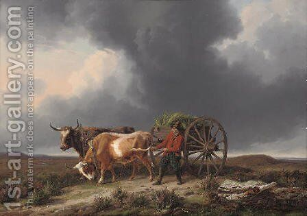 Hurrying home before the storm by Edmond Jean Baptiste Tschaggeny - Reproduction Oil Painting