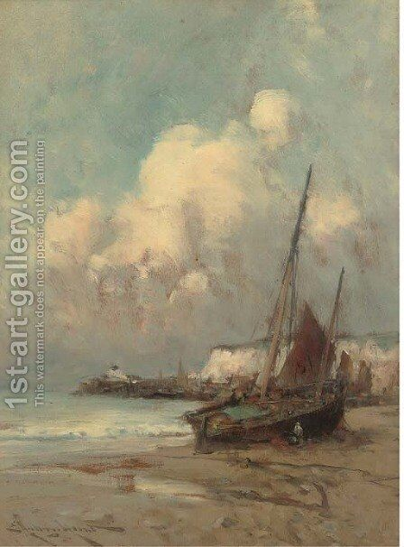 On the coast, Normandy by Edward Aubrey Hunt - Reproduction Oil Painting
