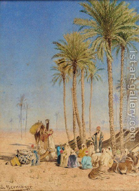 A desert encampment by Edmund Berninger - Reproduction Oil Painting