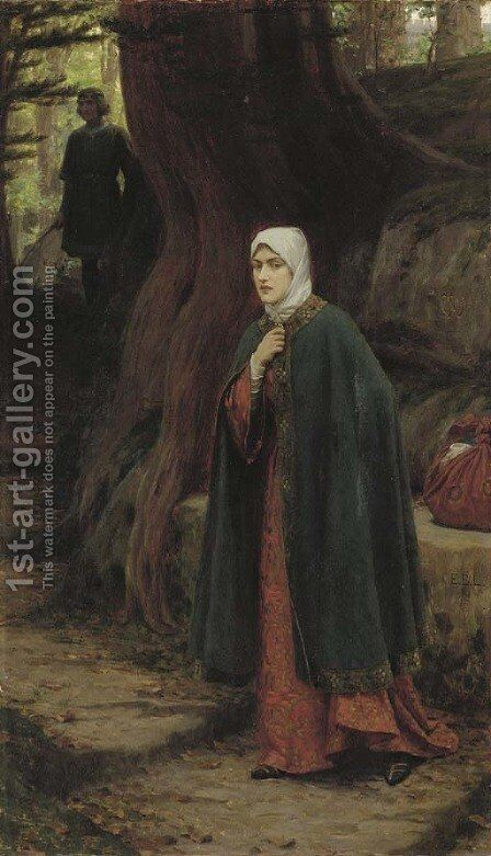 The Footstep by Edmund Blair Blair Leighton - Reproduction Oil Painting