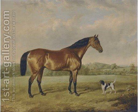A bay hunter with a terrier in an extensive landscape by Edmund Bristow - Reproduction Oil Painting