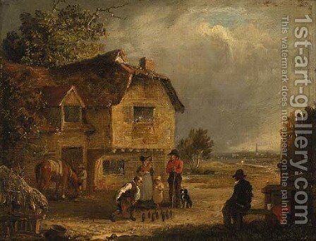 A game of skittles by Edmund Bristow - Reproduction Oil Painting