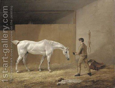 A grey hunter and stableboy by Edmund Bristow - Reproduction Oil Painting