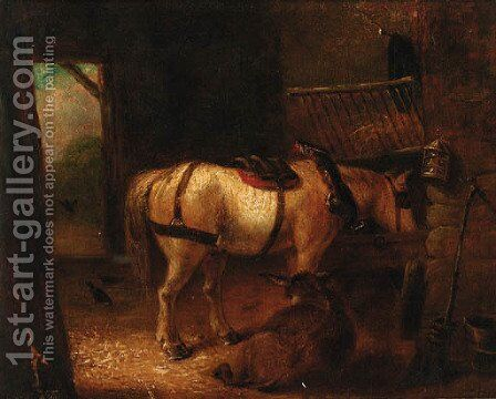 A horse and donkey in a stable by Edmund Bristow - Reproduction Oil Painting