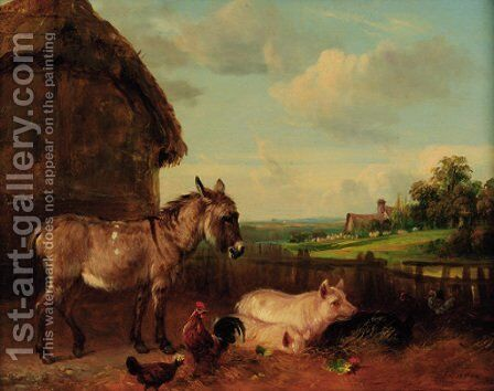 The Farmyard by Edmund Bristow - Reproduction Oil Painting