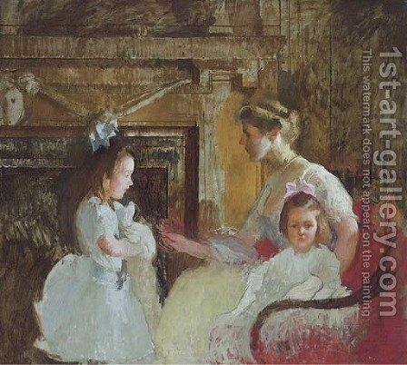 Mrs. George Putnam and Her Daughters by Edmund Charles Tarbell - Reproduction Oil Painting