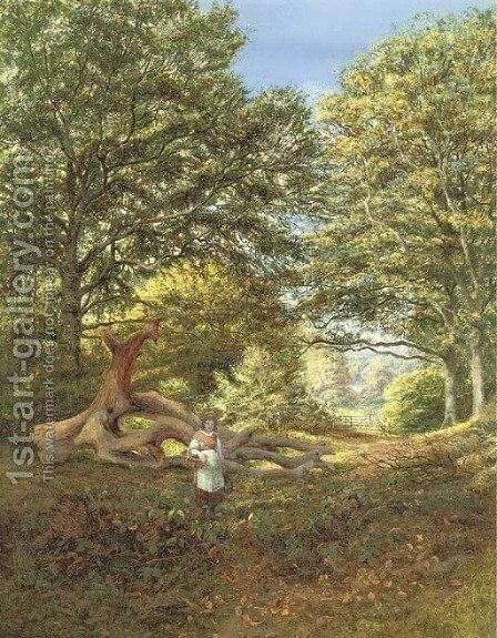 A woodland glade by Edmund George Warren - Reproduction Oil Painting