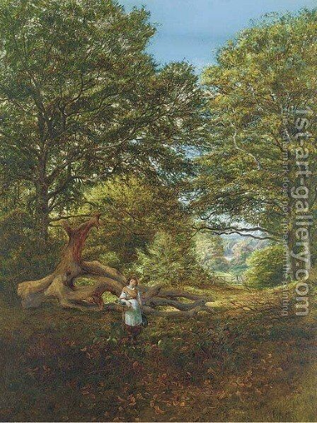 A young girl by a fallen oak in a woodland clearing by Edmund George Warren - Reproduction Oil Painting