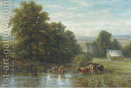 Cattle watering, summer by Edmund George Warren - Reproduction Oil Painting