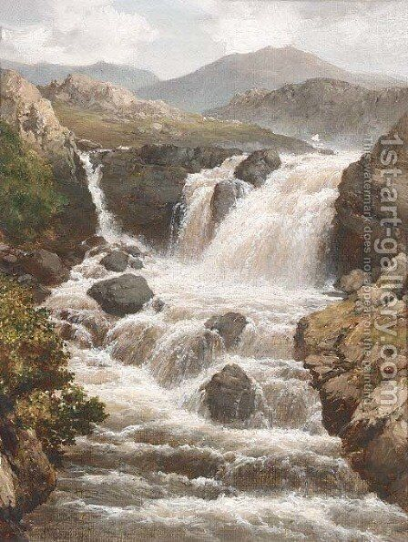 A river in full spate by Edmund Gill - Reproduction Oil Painting