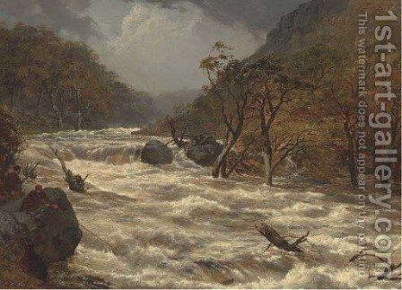 The Lludwy in full spate, North Wales by Edmund Gill - Reproduction Oil Painting