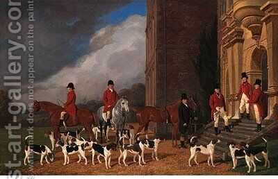 Sir John Cope with his Hounds on the Steps of Bramshill House, Hampshire by Edmund Havell Jnr. - Reproduction Oil Painting