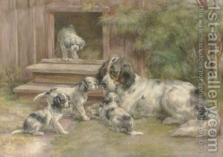 A Setter and her puppies outside a kennel by Edmund Henry Osthaus - Reproduction Oil Painting