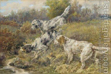 English Setters at a stream by Edmund Henry Osthaus - Reproduction Oil Painting